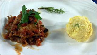 Braised Chicken Mushrooms Tomatoes and Polenta