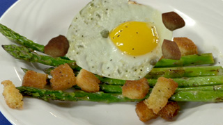 Grilled Asparagus with Saututed Egg